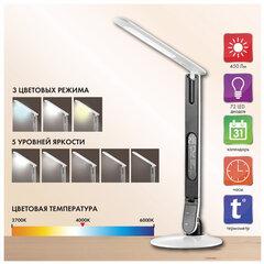 Светильник настольный SONNEN BR-898A, на подставке, светодиодный, 10 Вт, часы, календарь, термометр, белый, 236661