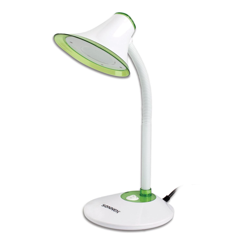 Светильник настольный SONNEN OU-608, на подставке, светодиодный, 5 Вт, белый/зеленый, 236670