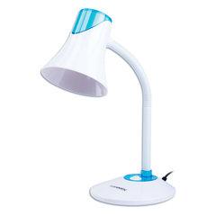 Светильник настольный SONNEN OU-607, на подставке, цоколь Е27, белый/синий, 236681