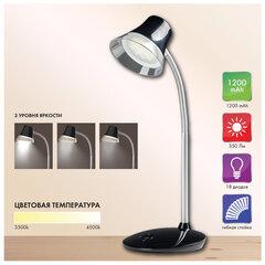 Светильник настольный SONNEN PH-329, на подставке, СВЕТОДИОДНЫЙ, 6 Вт, АККУМУЛЯТОР, зарядка от USB, черный, 236694