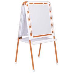 Доска-мольберт магнитно-маркерная/для мела ДЭМИ МДУ.07, двусторонняя, доска 52х46 см, оранжевый каркас