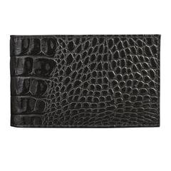 "Визитница карманная BEFLER ""Кайман"", на 40 визиток, натуральная кожа, крокодил, черная"