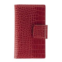 """Визитница трехрядная FABULA """"Croco Nile"""" на 120 визиток, натуральная кожа, крокодил, красная"""