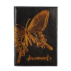 """Бумажник водителя BEFLER """"Бабочка"""", натуральная кожа, тиснение-принт, 6 пластиковых карманов, черный"""