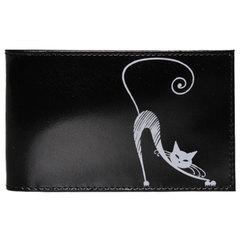 """Визитница карманная BEFLER """"Изящная кошка"""", на 40 визиток, натуральная кожа, тиснение, черная, V.37.-1"""