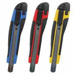 "Нож канцелярский 9 мм BRAUBERG ""Universal"", автофиксатор, цвет ассорти, резиновые вставки, блистер, 236970"