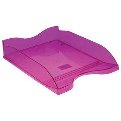 """Лоток горизонтальный для бумаг СТАММ """"Люкс"""", А4 (350х255х70 мм), тонированный фиолетовый, ЛТ612"""