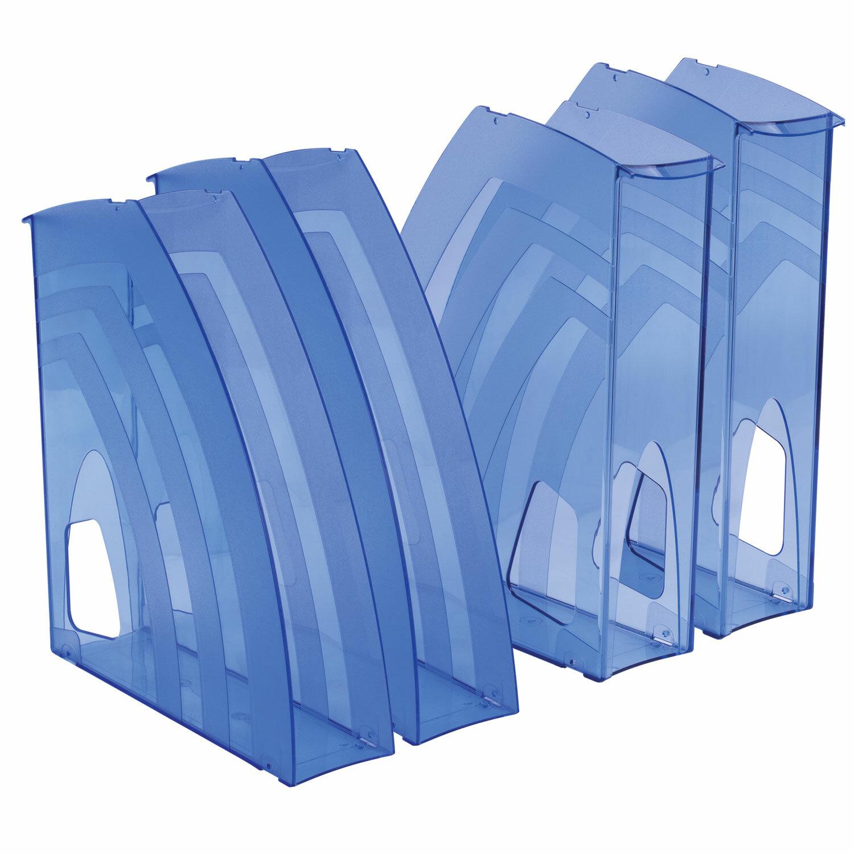 """Лотки вертикальные для бумаг, КОМПЛЕКТ 4 шт., 240х70х270 мм, тонированный голубой, BRAUBERG """"Ultra"""", 237235"""