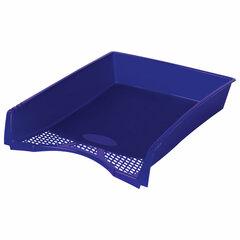 """Лоток горизонтальный для бумаг STAFF """"Profit"""", A4 (330х260х60 мм), полипропилен, синий, 237271"""