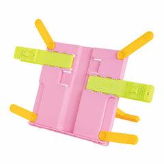 Подставка для книг ЮНЛАНДИЯ, с боковыми зажимами, регулируемый наклон, пластик, розовая, 237907