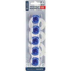Магниты сильные неодимовые, 30 мм, НАБОР 5 шт., синие, в блистере, GLOBUS, МН30ПС