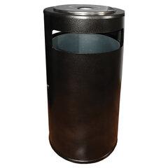 Урна уличная с пепельницей и ведром, створка с замком, 955х455х455 мм, 70 литров, черная, Метрополь-1