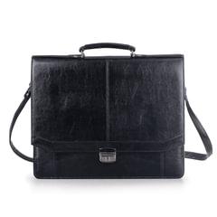 """Портфель """"Бизнес"""", 41х34х10 см, искусственная кожа, 3 отделения, замок с ключом, черный"""