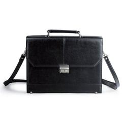 Портфель, 36х27х8 см, искусственная кожа, 2 отделения, замок с ключом, черный, 2-093