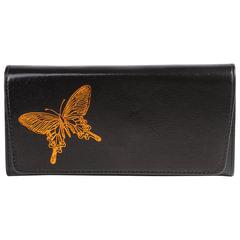 """Портмоне женское BEFLER """"Бабочка"""", натуральная кожа, кнопка, тиснение, 185х95 мм, черное"""