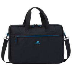 """Сумка деловая RIVACASE 8037 black, отделение для планшета и ноутбука 15,6"""", ткань, черная, 42х6х29 см"""