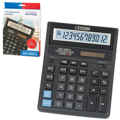 Калькулятор настольный CITIZEN SDC-888TII (203х158 мм), 12 разрядов, двойное питание
