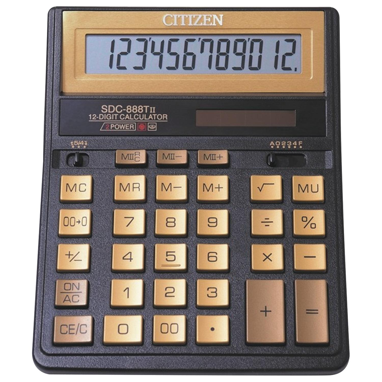 Калькулятор настольный CITIZEN SDC-888TIIGE (203х158 мм), 12 разрядов, двойное питание, ЗОЛОТОЙ
