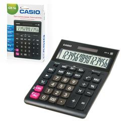 Калькулятор CASIO настольный GR-16-W, 16 разрядов, двойное питание, 209х155 мм, европодвес, черный
