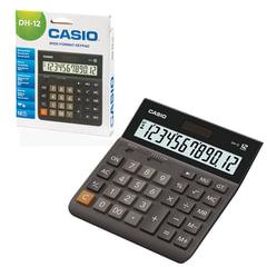 Калькулятор CASIO настольный DH-12-BK-S, 12 разрядов, двойное питание, 159х151 мм, европодвес, черный/серый