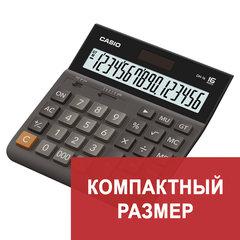 Калькулятор настольный CASIO DH-16-BK-S, КОМПАКТНЫЙ (159х151 мм), 16 разрядов, двойное питание, черный/серый