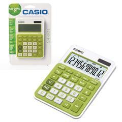 Калькулятор CASIO настольный MS-20NC-GN-S, 12 разрядов, двойное питание, 150х105 мм, блистер, белый/зеленый