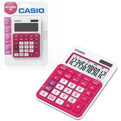 Калькулятор CASIO настольный MS-20NC-RD-S, 12 разрядов, двойное питание, 150х105 мм, блистер, белый/красный