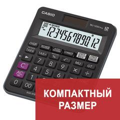 Калькулятор настольный CASIO MJ-120DPLUS-W, КОМПАКТНЫЙ (148х126 мм), 12 разрядов, двойное питание, черный