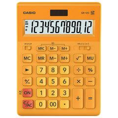 Калькулятор CASIO настольный GR-12С-RG, 12 разрядов, двойное питание, 210х155 мм, оранжевый
