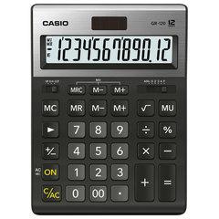 Калькулятор настольный CASIO GR-120-W (210х155 мм), 12 разрядов, двойное питание, черный, МЕТАЛЛИЧЕСКАЯ ВЕРХЯЯ ПАНЕЛЬ