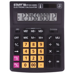 Калькулятор настольный STAFF PLUS STF-333-BKRG (200x154 мм) 12 разрядов, ЧЕРНО-ОРАНЖЕВЫЙ, 250460