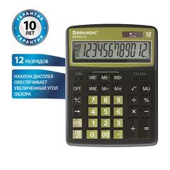 Калькулятор настольный BRAUBERG EXTRA-12-BKOL (206x155 мм), 12 разрядов, двойное питание, ЧЕРНО-ОЛИВКОВЫЙ, 250471