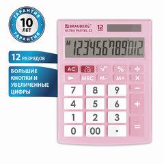 Калькулятор настольный BRAUBERG ULTRA PASTEL-12-PK (192x143 мм), 12 разрядов, двойное питание, РОЗОВЫЙ, 250503
