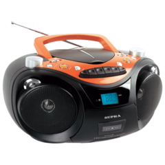 Магнитола SUPRA SR-CD125U, CD, MP3, кассетная дека, USB, AM/FM-тюнер, выходная мощность 6 Вт, цвет черный/оранжевый
