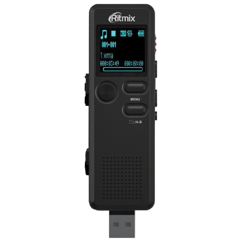 Диктофон цифровой RITMIX RR-610, память 4 Gb, запись до 583 ч., битрейт до 320 кбит/с, USB, радио