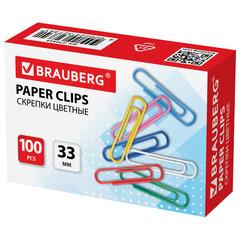 Скрепки BRAUBERG, 33 мм, цветные, 100 шт., в картонной коробке, 270444