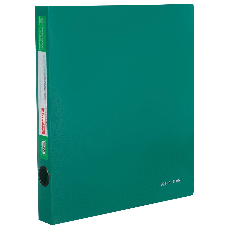 "Папка на 2 кольцах BRAUBERG ""Стандарт"", 40 мм, зеленая, до 300 листов, 0,9 мм, 270481"