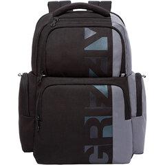 Рюкзак GRIZZLY молодежный, анатомическая спинка, 2 отделения, черно-серый, 43х28х17 см, RU-133-1/1
