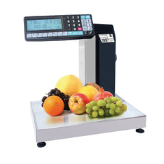 Весы-регистраторы с печатью этикеток МАССА-К МК-15.2-RP10-1 (0,04-15 кг), дискретность 5 г, платформа 340x244 мм, стойка
