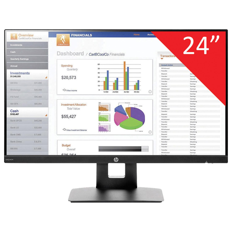 """Монитор HP VH240a 24"""" (61 см), 1920x1080, 16:9, IPS, 5 ms, 250 cd, VGA, HDMI, HAS Pivot, черный"""