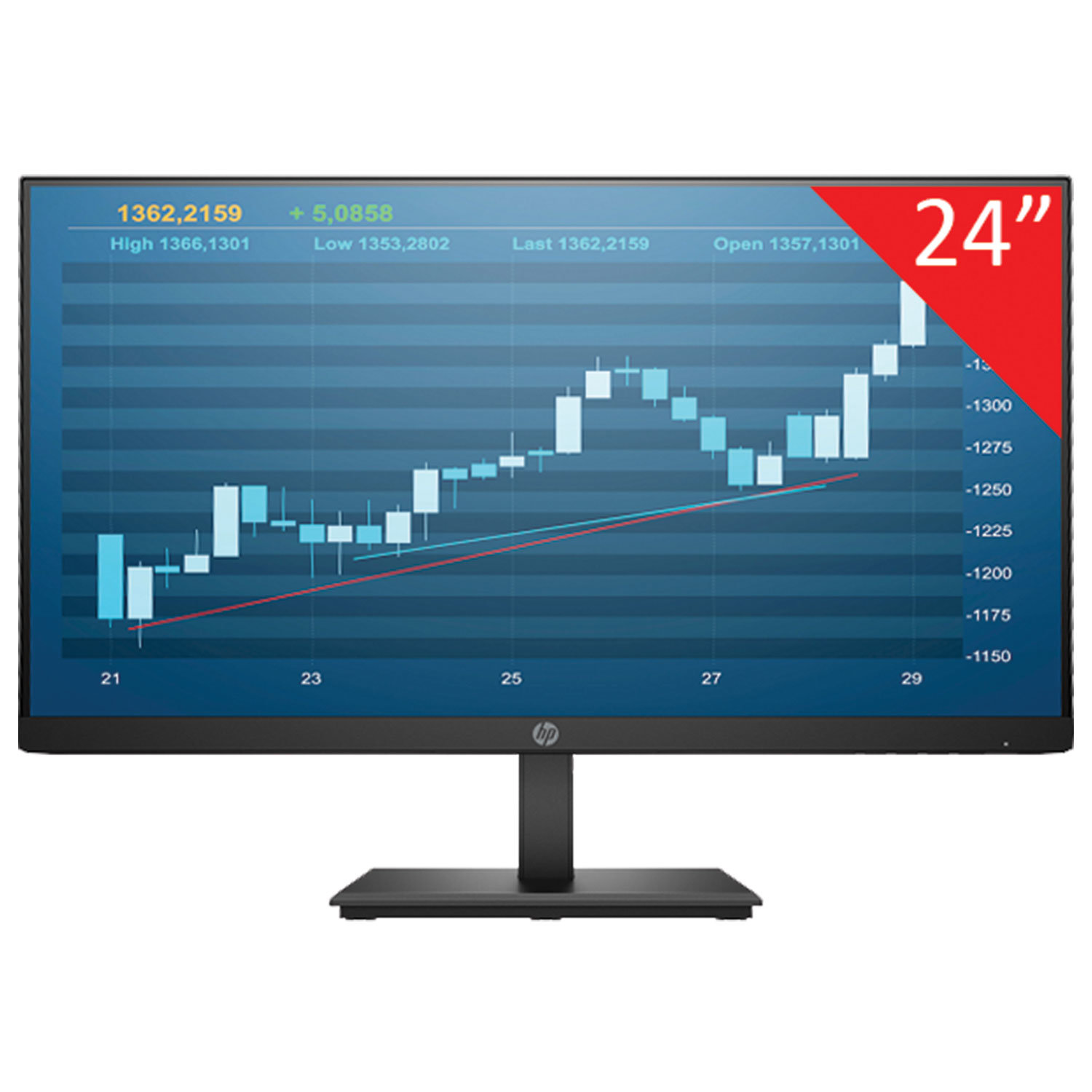 "Монитор HP P244 24"" (61 см), 1920x1080, 16:9, IPS, 5 ms, 250 cd, HDMI, VGA, DP, черный"