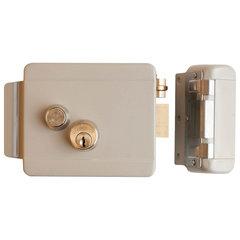 Замок FALCON EYE FE-2369i электромеханический накладной, 3 ключа, кнопка выхода, крашеный