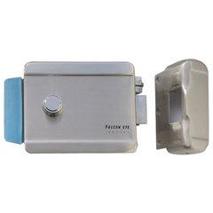 Замок FALCON EYE FE-2370 электромеханический накладной, 3 ключа, кнопка выхода, хромированный, серебро