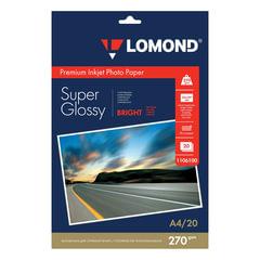 Фотобумага для струйной печати, А4, 270 г/м2, 20 листов, односторонняя суперглянцевая, LOMOND 1106100