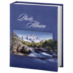 """Фотоальбом BRAUBERG на 200 фотографий 10х15 см, твердая обложка, """"Горный пейзаж"""", синий, 390669"""