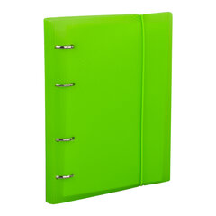 Тетрадь на кольцах А5 (175х220 мм), 120 л., пластиковая обложка, клетка, с фиксирующей резинкой, BRAUBERG, зеленая, 403569