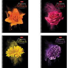 """Тетрадь А5, 96 л., HATBER, гребень, клетка, обложка картон, """"FlowerOnblack"""" (4 вида в спайке), 96Т5В1гр"""