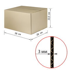 Гофроящик, длина 380 х ширина 280 х высота 225 мм, марка Т22, профиль В