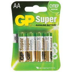 Батарейки GP Super, AA (LR06, 15 А), алкалиновые, комплект 4 шт., в блистере