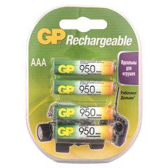 Батарейки аккумуляторные GP, AAA, Ni-Mh, 950 mAh, КОМПЛЕКТ 4 шт., блистер, 95AAAHC-2DECRC4